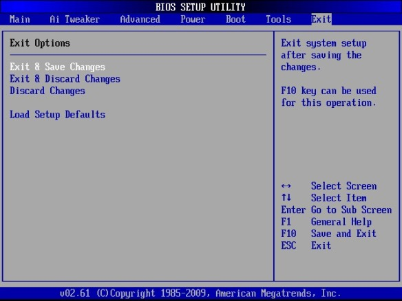 BIOS menu, save changes and exit