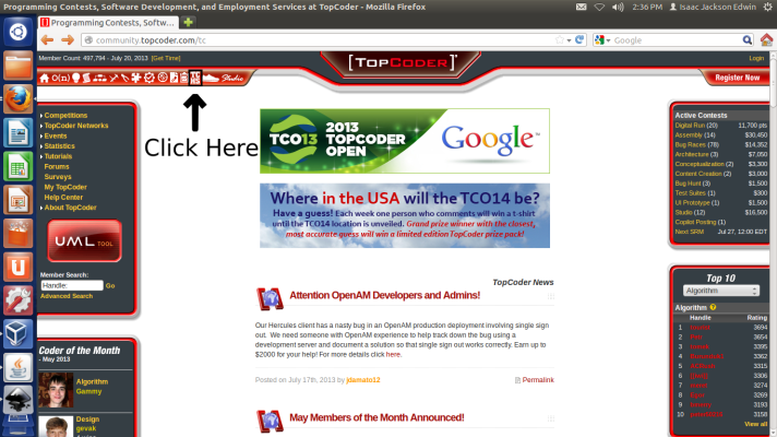 Download and Install TopCoder applet.
