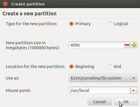 '/usr/local' Partitioning