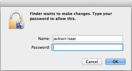 Enter admin password popup